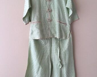 Vintage 50's Child's Pajamas, Cheongsam Pajamas, Gump's San Francisco Honolulu, Child's Rayon Pajamas