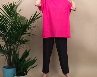 Oversized hot pink boxy tee in L