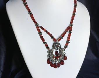 Red crystal upcycled necklace