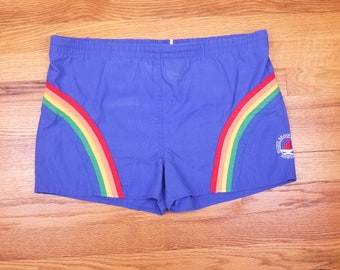 Vintage 80s Swim Trunks Pacific Beach Yacht Club Hawaii surf shorts 1980 rainbow stripe swimsuit bathing suit 80s surfing  S Small