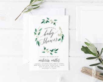 Greenery Baby Shower Invitation Template Rustic Greenery Baby Shower Invitation Editable Baby Shower Template Foliage Baby Shower Template