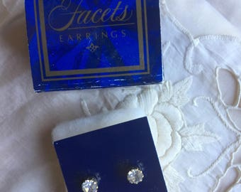 On Hold for Raquel*SALE! Vintage Avon Facets Stud Earrings 1988
