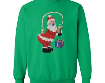 Christmas Shirts Christmas Kardashian Santa Claus Champagne Xmas Gift Ugly Sweaters Happy Holiday Unisex Sweatshirts for Men and Women
