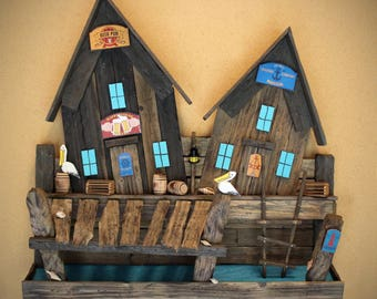 Nautical Decor Wall Art Distressed Wood Two Houses Village