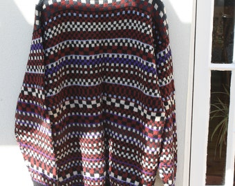 Hand knitted pure new wool V neck sweater