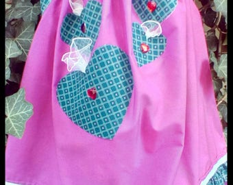 Heart Treasure Pillowcase dress is created of Vintage and upcycled fabric, It would be prefect for Valentines, the toddler who loves hearts