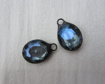 Hand Soldered Large Reflective Blue Crystal Oval