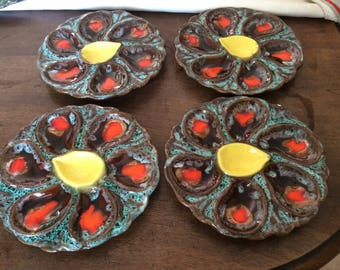 Set of 2 plates oysters vintage french majolica from Vallauris