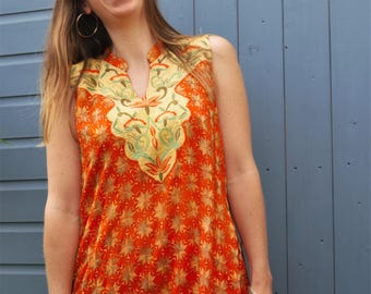Orange sleeveless embroidered dress/kurti