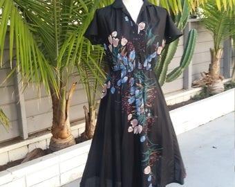 Vintage tulip print cotton dress size M