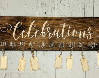 Celebrations Sign, Birthday Board, Family Board, Gift, Wood Sign, Tags
