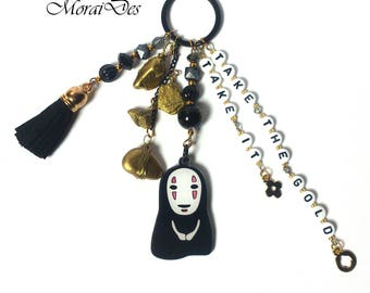 No Face Keychain - Spirited Away Keyring - Studio Ghibli Keyring - Keyring Gold / Gold nuggets - Letter beads Gold