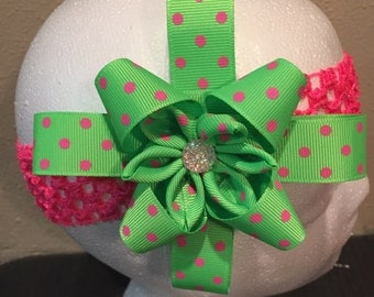 Green with pink polkadots HairBow/ headband