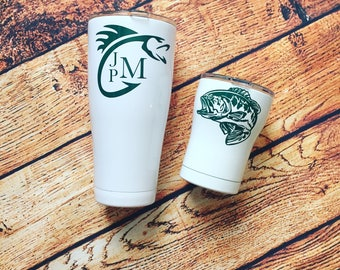Fishing Tumbler-Fishing Gift for Men-Bass Fishing Monogram-Fishing Cup-Stainless-Powdercoat-Father's Day Gift-Gift for Dad-White Tumbler