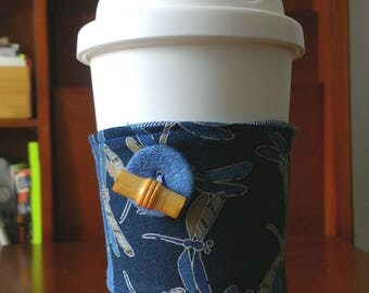 Japanese Dragonfly Repurposed Denim Cup Cozy