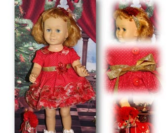 """Chatty Cathy doll not included. Pretty Poinsettias- Gold Dot Poinsettia Dress, Buttons, Headband & Pony. Clothes fit Vintage 20"""" tall dolls"""
