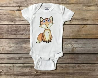 Fox Baby Onesie,  Cute Baby Onesie, Hipster Onesie, Baby Shower Gift, Baby Girl Clothes, Fox Gift, Coming Home Outfit, Funny Onesies