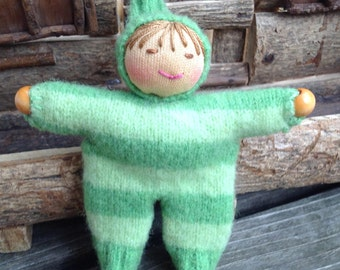 Green Striped Walking Finger Puppet