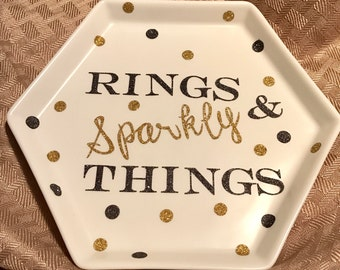 Rings and Sparkly Things Jewelry Dish Tray
