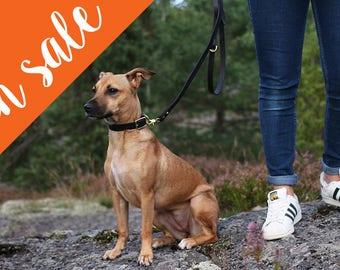 Scandinavian black leather dog leash, handmade classic natural veg tanned leather