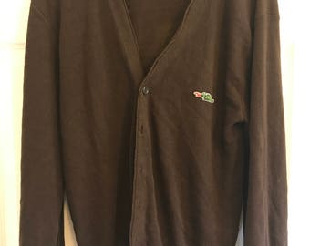 Vintage Sear's Dragon Brown Cardigan Sweater XL