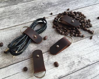 Leather Cable Holder   Cord Organizer   Earphone Holder Headphone iphone Holder cord keeper iphone cord wrap earbud iPhone Cord   HANDMADE