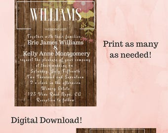 Rustic Wedding Invitation Package / Digital File