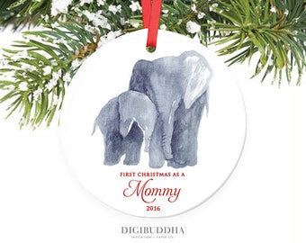 New Mommy Ornament First Christmas as a Mommy Ornament Elephant Ornament Baby Elephant Ornament New Parent Christmas Ornament First as a Mom