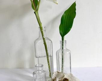 Trio of Antique Glass Bottles, Bud Vases