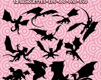 Dragons Silhouettes, Dragons SVG, Dragon Art, Clipart Dragons,Dragons PNG,    Instant Download 66