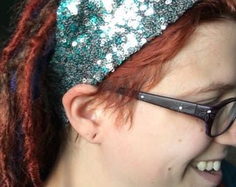 Silver and Turquoise Ombre Elastic Headband, Sequin Hair Covering, Ombre Head Covering