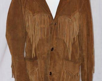 Vintage PIONEER WEAR Brown Leather Fringe Jacket Size 38
