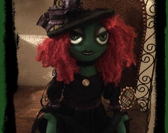 Primitive Folk Art Witch Doll With Big Eyes by Tattered Magnolia for Halloween
