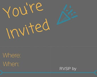 Birthday Party Invitation- 100% customizable