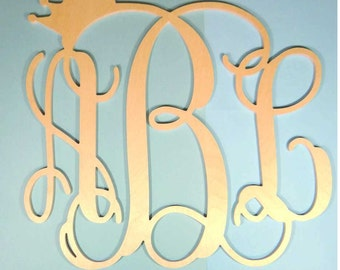 Wooden Vine Crown Monogram