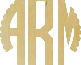 Circle Scalloped Wooden monogram