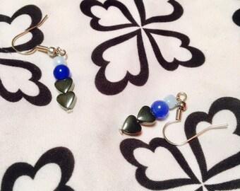Blue & Black Heart Drop Earrings