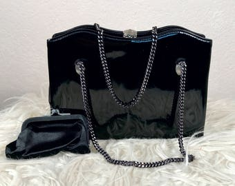 Vintage Black After Five Purse Patent Leather Evening Bag with Coin Purse