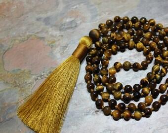 Tiger Eye Mala Beads, Tigers Eye Mala Necklace, Healing Mala, Mala for Courage, Boho Tassel Necklace, Yoga Beads, Beaded Necklace, Japa Mala