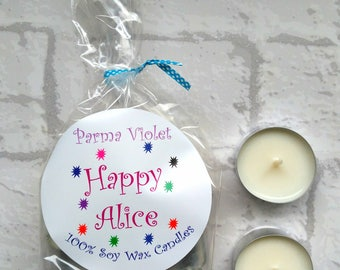 Parma Violet Soy Wax Tealights, Soy Candle, Sweet Shop, Gifts for her, Wedding Favor, Birthday, New Home, Stocking Filler, Home Fragrance