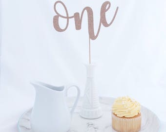 First Birthday Cake Topper, One Cake Topper, First Brithday, 1st Birthday Decorations, Gold Glitter Party, 1 Cake Topper, Smash Cake Topper