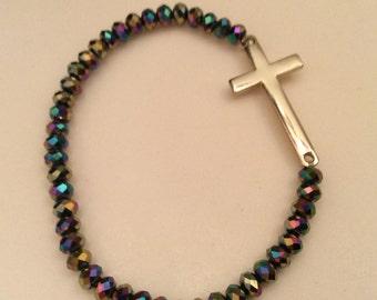 Stretchy Glass beaded sideways cross bracelet