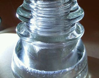 Vintage Hemingray 42 insulator. Beautiful Clear Glass. All Drip Points Intact.