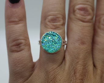Beautiful Mermaid Blues Crystal Druzy Ring, Adjustable, Sets Available, Aqua druzy, light blue druzy, bridesmaids, gift
