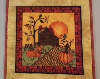 Autumn Dusk Quilted Table Topper, Quilted Table Topper, Pumpkin-Themed Table Topper, Quilted Placemat, Quilted Snack Mat, Item 1207A