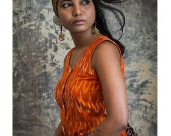 Tangerine Fit & Flare Dress in handwoven ikat