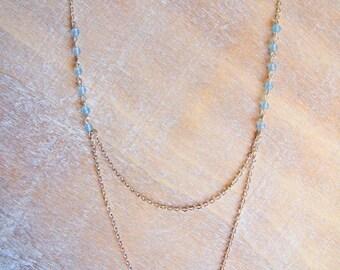 Double hematite and aquamarine necklace