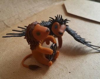 Supernatural Lions Lionization Sam Winchester Castiel Cute Little Lion Friend polymer clay sculpture Big Cat Miniature