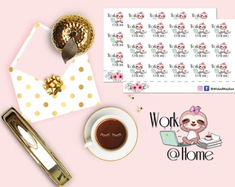 Work At Home Planner Stickers, Sloth Work From Home Sticker, Sloth Computer Work Stickers, Scrapbook Stickers, Planner Accessories