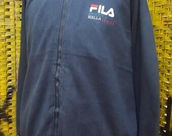 Vintage FILA / fila biella italia / small embroidery logo / full zipper / large size sweatshirt (W107)